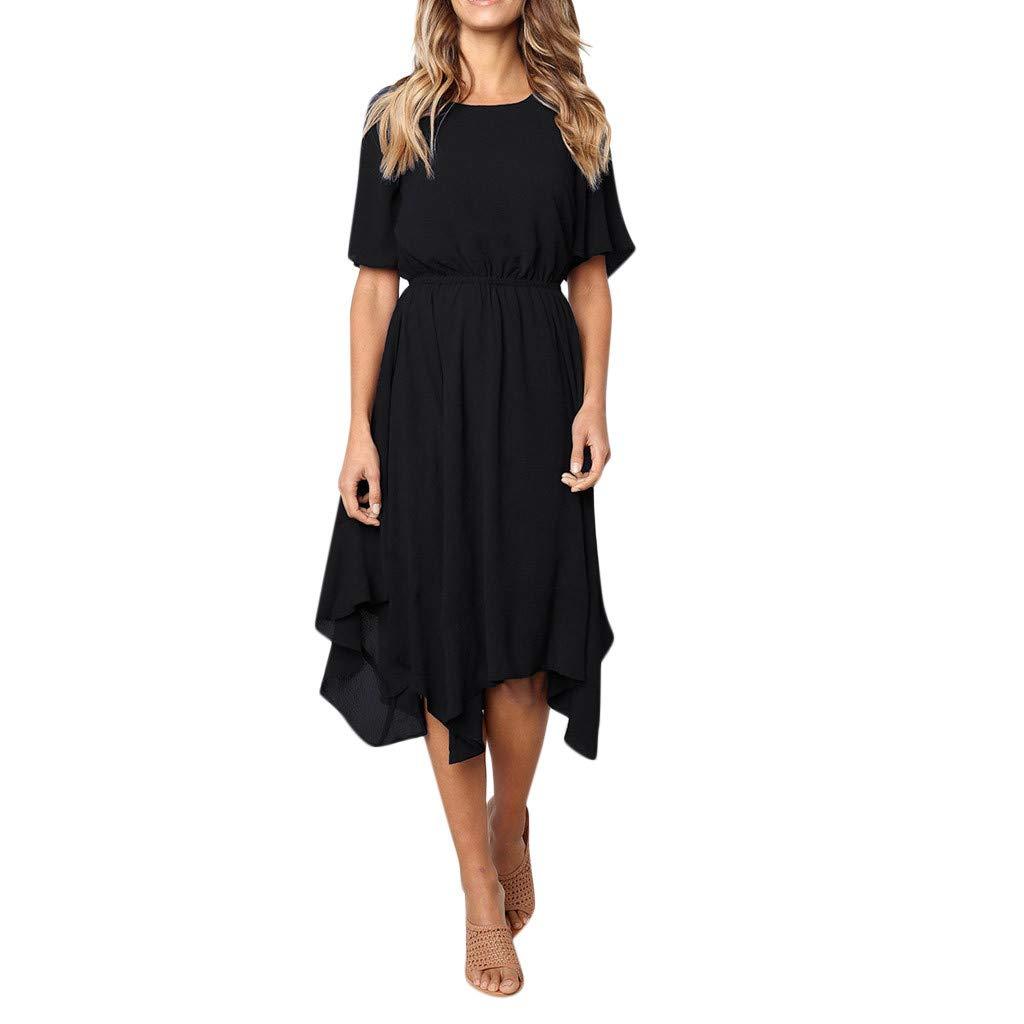 Fashion Sundress Beach Dress Women's Casual Short Sleeve Party Long Summer Dress Evening Dresses Maxi Dress Black