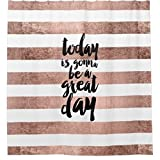 Zzdreamzz Modern Quote Great Day Typography Rose Gold Stripe Waterproof Fabric Polyester Bathroom Shower Curtain 60