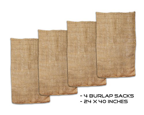 Get Out! Burlap Potato Sack Race Bags 23in x 40in with Natural Fabric 4-Pack