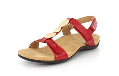 Womens Rest Farra Backstrap Sandal, Navy Patent, Size 7 Vionic
