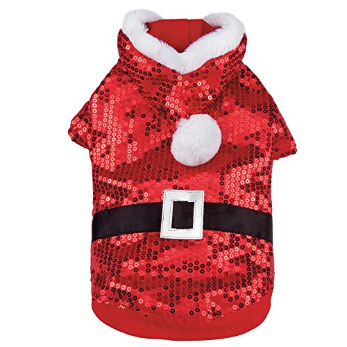 Zack & Zoey Santa Claus Sequin Hoodie for Dogs, 20