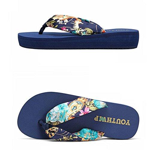 Antiscivolo 5Cm Medio Con Beach Infradito Havaianas 3 Blue Summer Sandali Tacco 5qwzOTx