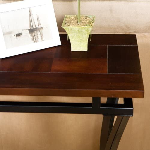 FurnitureMaxx Accent Sofa Table, Black Metal with Espresso Finish Wood Top