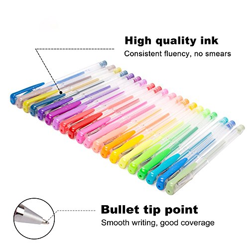 Lineon 100 Pack Gel Pens Set, 50 Colors Gel Pens with 50 Refills Gel Pen Set for Adult Coloring Books Drawing Doodling Art Markers