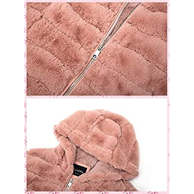 Bellivera Women's Faux Shearling Shaggy Coat,Fashion Long Sleeve Zip Up Jacket Hooded for Spring Fall and Winter: Clothing