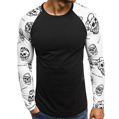 Realdo Hot Clearance Sale Mens Long Sleeve Skull Letters Print Patchwork Tops Tshirt (Medium,Black)