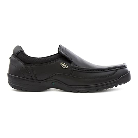 Pod Mens Black Coated Leather Slip On Casual Shoe: Amazon.co.uk: Shoes &  Bags