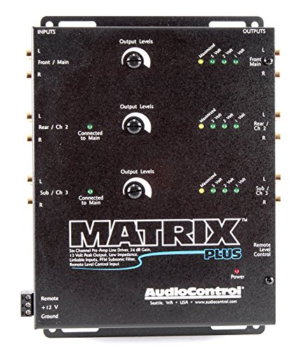Control Matrix - AudioControl Matrix Plus Black Six Channel Line Driver with Remote Level Control Input