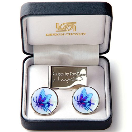 Pearl Butterfly Design (Mother of Pearl Blue Butterfly Design Coin Metal Magnetic Stainless Steel White Pro Hat Clip Golf Ball Marker Cap Money Clip Gift Set)