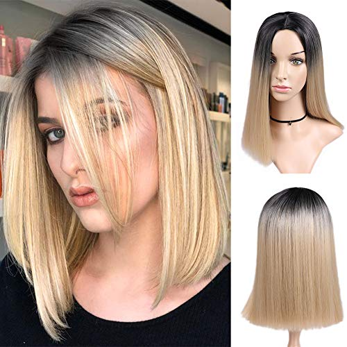 Lady Miranda 14 Inches Straight Hair Bob Wig Ombre Brown to Ash Blonde Color Middle Part Synthetic Full Wigs for Women (Black&Light Blonde)