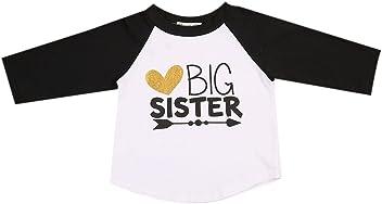 d982bf77388 Imcute Baby Girls Big Sister Heart Print Long Sleeve T-Shirt Top