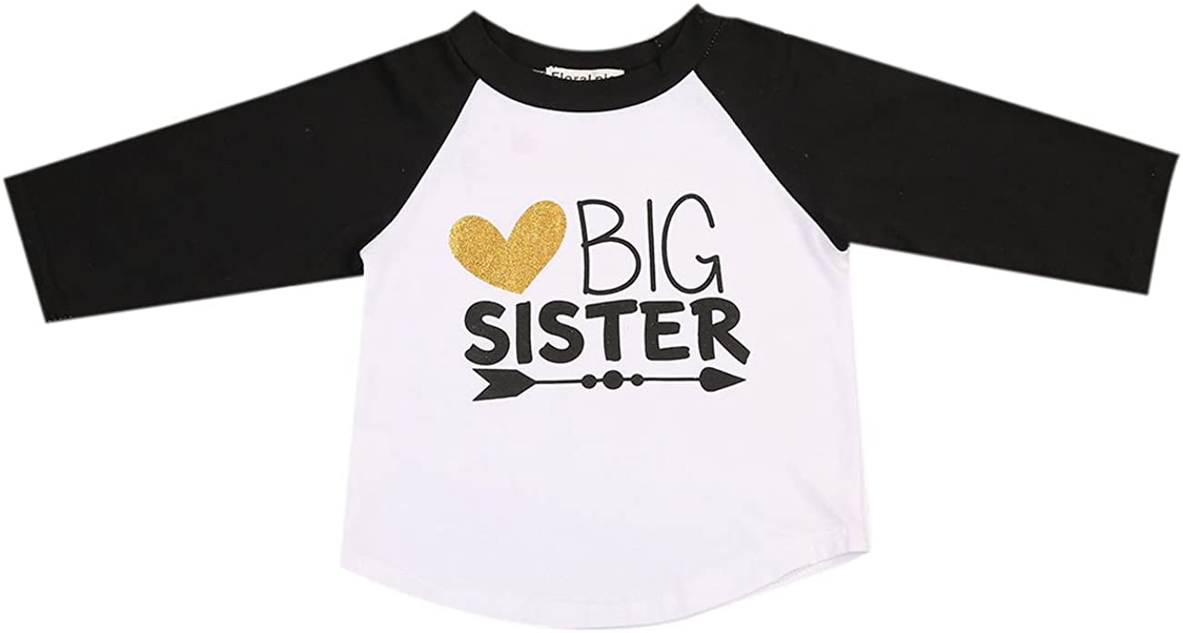 Imcute Baby Girls Big Sister Heart Print Long Sleeve T-Shirt Top