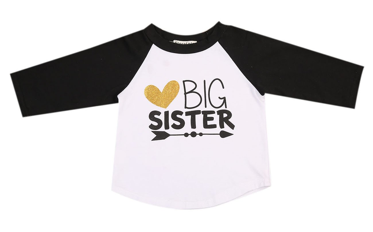 Imcute Baby Girls Big Sister Heart Print Long Sleeve T-Shirt Top
