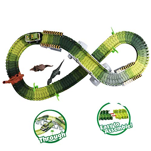 TTOUADY Jurassic World Dinosaur Toys Set, Dinosaur World Toys Car Track Bridge Create A Road, Educational Toys for Kids and Toddlers(142 Track Pieces)
