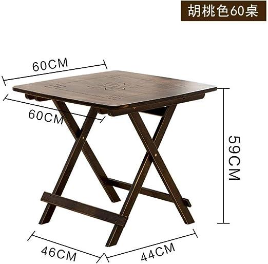 DX Mesa Plegable Mesa Cuadrada de Cuatro Personas casera de bambú Casual de Madera Maciza China Plegable de Color Nogal Color 60 Mesa Plegable: Amazon.es: Jardín