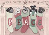 12 Christmas cards: Schnauzers hung by the chimney with care / Lynch folk art
