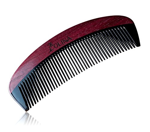 Unique Gift - Olina No Static Handmade Premium Quality Natural Black Ox Horn & Purple Heart Wood Comb with Natural Wood Aromatic Smell (Narrow-tooth Without Handle, Black Ox Horn & Purple Heart Wood, 5.9'')