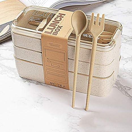 Fiambrera de 3 Capas Contenedor de Comida Caja Bento portátil Fiambrera de Paja de Trigo ecológica para niños Caja de Comida con vajilla - Beige 900ml