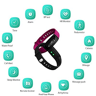 Fitness Activity Tracker Watch - Smart Bracelet with Blood Pressure Heart Rate Monitor Pedometer Calorie Counter Sleep Monitor Call Alert IP67 Waterproof for iPhone Android (Black + Purple Straps)