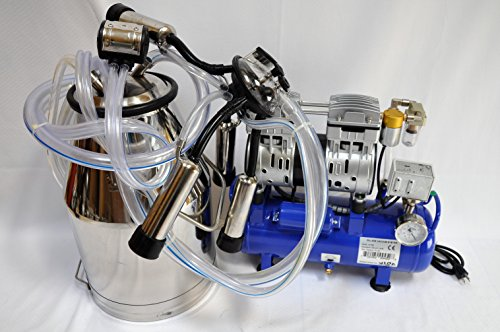 Vacuum Hose Diagram - Complete Cow Bucket Milker:w/5.5CFM 3/4HP Oilless Vacuum System/Automatic Pressure control/25L SS Milk Pail/Pulsator/Claw Cluster Milk and Air Hoses Clear PVC No Oil Mist Save The Oil