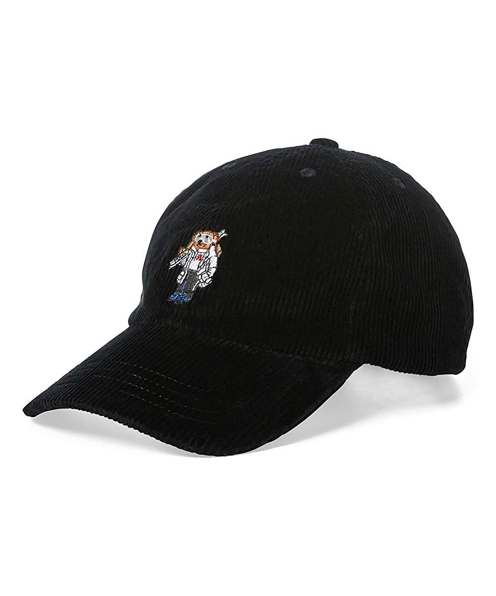 Ralph Lauren Polo Boy's Corduroy Ski Bear Baseball Cap (4) Black