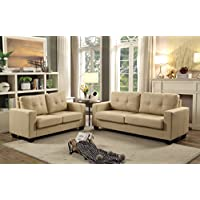 GTU Furniture 2Pc Contemporary Modern Pu-Leather Sofa and Loveseat Living Room Set (BEIGE)