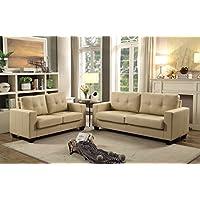 GTU Furniture 2Pc Contemporary Modern Pu-Leather Sofa and Loveseat Living Room Set (BEIGE)