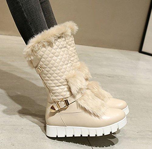 Warm Mid Flats Snow Buckle Boots On Apricot Women's Toe Comfy Slip Aisun Strap Platform Round Calf 5P4qO8F