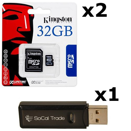 2 PACK - Kingston 32GB MicroSD HC Class 4 TF MicroSDHC TransFlash Memory Card SDC32/32GB 32G 32 GB GIGS (M.A32.RTx2.550) LOT OF 2 with USB SoCal Trade© SCT Dual Slot MicroSD & SD Memory Card Reader - Retail Packaging