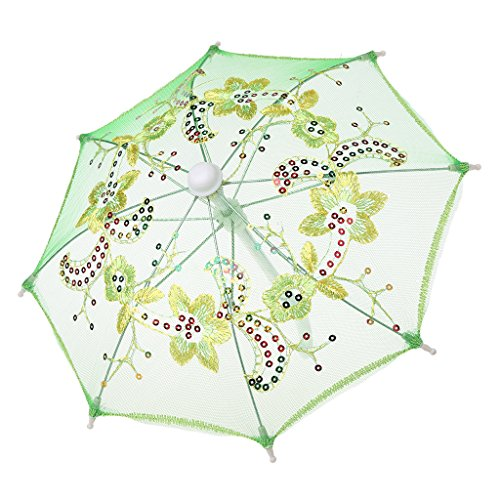 Jesse Dolls House Umbrella, Mini Room Accessories Early Educational Building Toy Gift for Kids Toddlers Boys Girls Babies Family (Green)