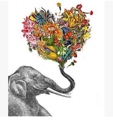 Elephant Deco Art (Kipten Elephant Floral Personalized Custom 60