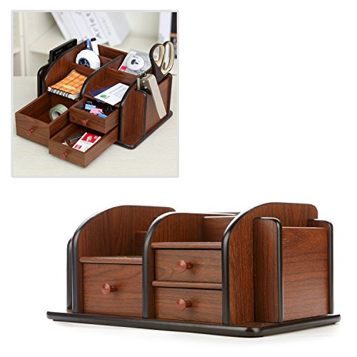 Mygift Classic Brown Wood Office Supplies Desk Organizer