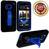 myLife (TM) Black + Blue Shockproof Armor (Built In Kickstand) Body Glove Case for HTC One M7, Google Play Edition (801e, 801n, 801c, 801s) Touch Smartphone (Flexible External Silicone Gel + Hard 2 Piece Internal Rubberized Snap Guard)