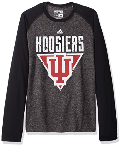 adidas NCAA Indiana Hoosiers Color Splat Ultimate Long Sleeve Raglan Tee, 2X-Large, Dark Gray Heather