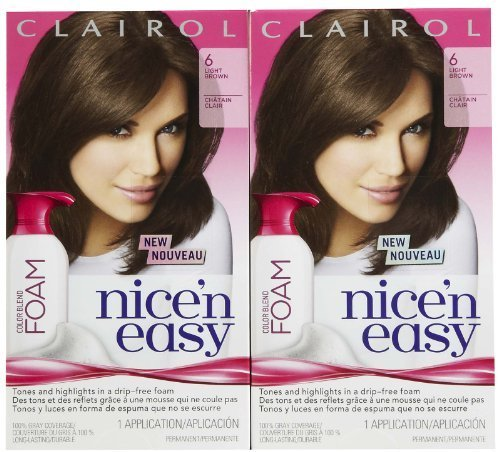 Clairol Nice 'n Easy Color Blend Foam Hair Color, 6, Light Brown, 2 pk by Clairol