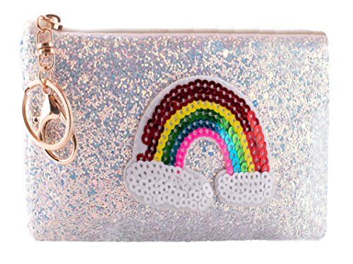 Mini Coin Purse and ID Holder with Key Chain - Rainbow