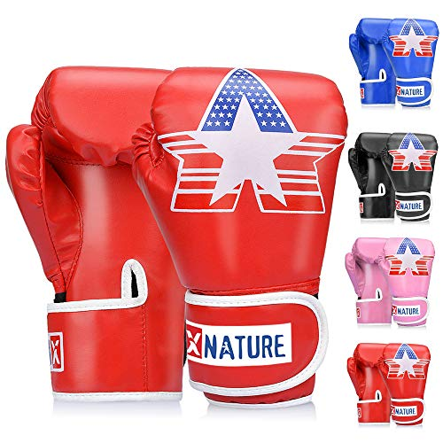 - Xnature 4oz 6oz 8oz PU Kids Boxing Gloves Children Cartoon MMA Kickboxing Sparring Youth Boxing Gloves Training Gloves Age 5-12 Years (Red Boxing Gloves Without Gift Box)