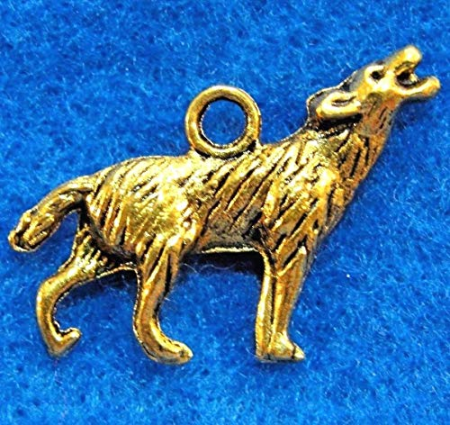 10Pcs. Tibetan Antique Gold 2-Sided 3D Wolf Charms Pendants Earring Drops AN012 Crafting Key Chain Bracelet Necklace Jewelry Accessories Pendants from Moon