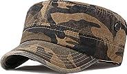 Ambysun Cotton Flat Top Peaked Baseball Twill Army Millitary Corps Hat Cap Visor
