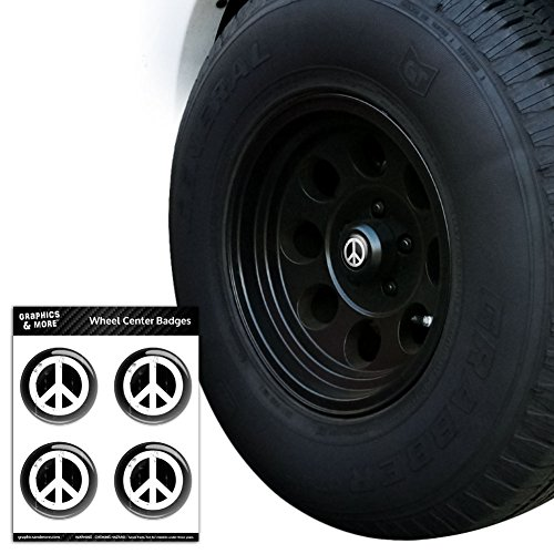 Artsy Peace Sign Symbol Black White Tire Wheel Center Cap Resin-Topped Badges Stickers - 1.8