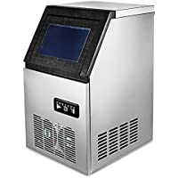 VEVOR 110V Commercial Ice Maker 280W Stainless Steel Ice Cube Maker Machine 150LBs Ice Making Machine for Home Supermarkets Cafes Bakeries Bars Restaurants Snack Bars (Production 150lbs/24h)