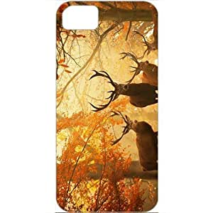 DIY Apple iPhone 5S Case Customized Gifts Personalized With Animals animals deers in the autumn forest 17625 White...
