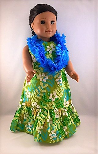 [Hawaiian Dress in Green with Blue Lei. Fits 18 Inch Dolls like American Girl.] (Costumes With Mumus)
