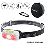 King-Pin LED Headlamp Headlight USB Rechargeable Waterproof Lightweight Mini Headlamp Hands Free for Running Reading DIY Work Indoor and Outdoor Use (Running LED Headlamp SOS Red Light)