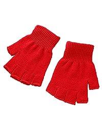 XY Fancy Unisex Plain Basic Fingerless Winter Gloves Red