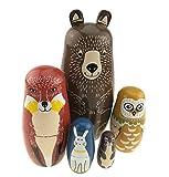 Set Of 5 Cartoon Bear Fox Owl Rabbit Raccoon Handmade Wooden Russian Nesting Dolls Matryoshka Dolls For Birthday Christmas New Year Gift Home Decoration Kids Toy