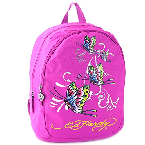 Ed Hardy Misha Butterfly Glitter Backpack - Violet Purple