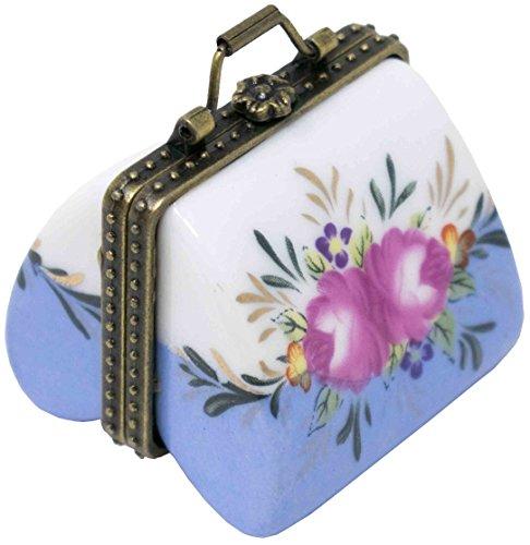 Light Blue Purse Porcelain Pocket Portable Pill Box - Compact Single Large Compartment Medicine Case - Lite Purse