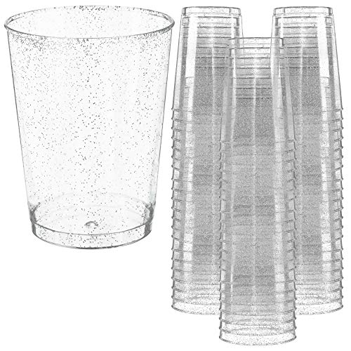 Disposable Plastic Party Cups – 10oz, 50 Pack - Fun Silver Glitter Design - Heavy Duty Glasses for Parties and Events – Durable and Reusable – By Prestee