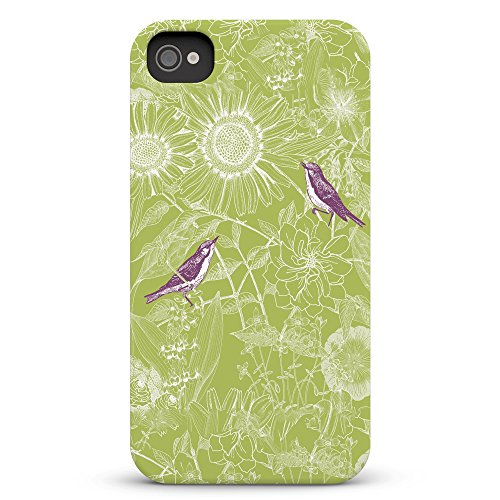 Koveru Back Cover Case for Apple iPhone 4/4S - Green Twinkle Flowers